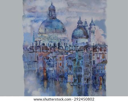 Vector of watercolor of Venice. Italy Grand Canal at night. Cathedral of Santa Maria della Salute.Reflection in the water.Evening city Travel background - stock vector