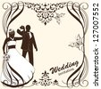 Vector of wedding card invitation with bride and groom - stock vector