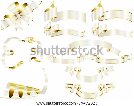 Vector of white and gold ribbon set - stock vector