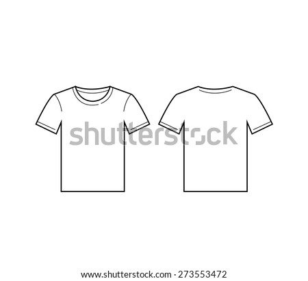 Vector of white man Blank t-shirt template. Front and back - stock vector
