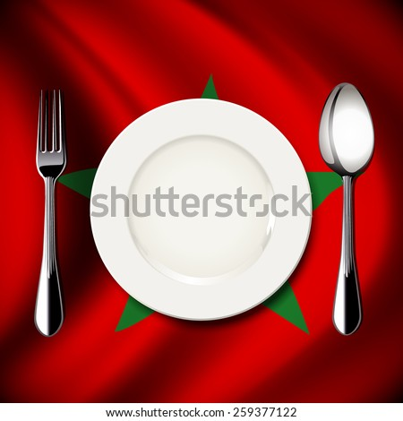 Vector of White plate with knife and fork on Morocco flag background. The national food concept.