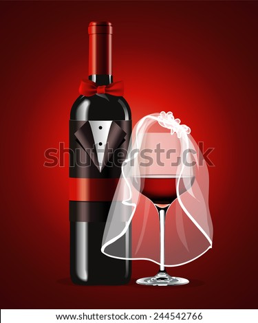 Vector of Wine Glass in Bridal Veil and Wine Bottle in Wedding Suit on Red Background. Valentine day. - stock vector