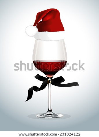 Vector of Wine glass with Santa hat   - stock vector