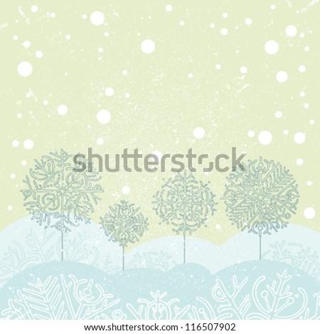 Vector of winter landscape. - stock vector