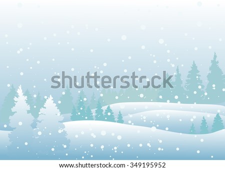 Vector of winter landscape, snowfall in forest. - stock vector