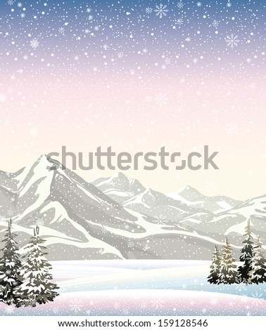 Vector of winter landscape with mountains. - stock vector