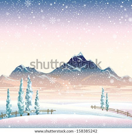 Vector of winter landscape with mountains and snowy trees. - stock vector