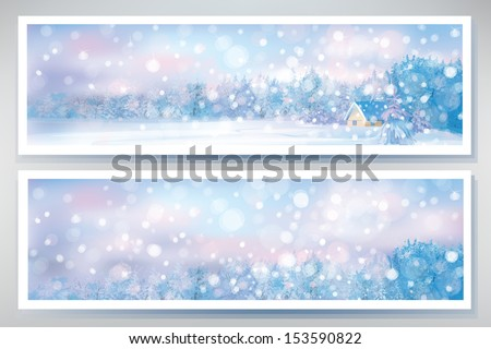 Vector of winter  snow scene  banners. - stock vector