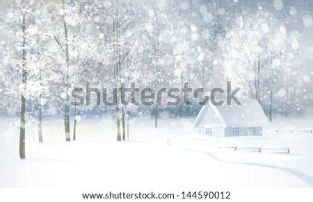 Vector of winter snowy landscape with house in forest. - stock vector