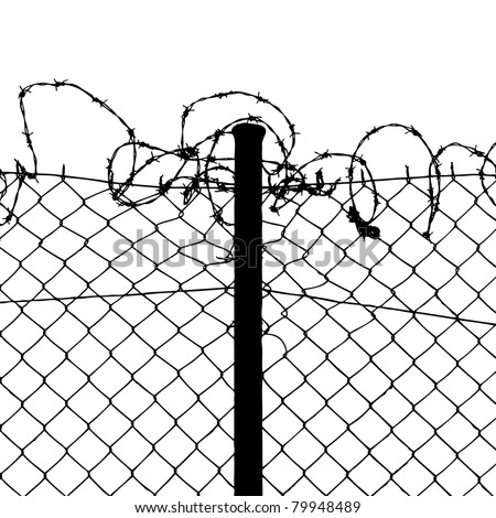 vector of wired fence with barbed wires on white background - stock vector