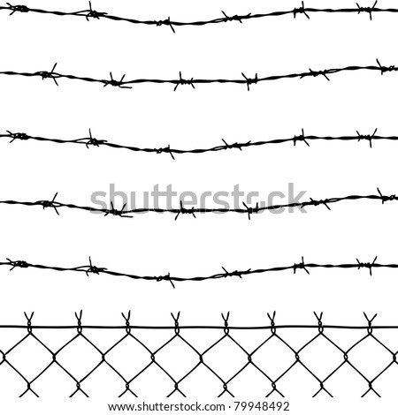 vector of wired fence with five barbed wires on white background - stock vector