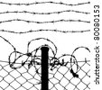 vector of wired fence with four barbed wires on white background - stock photo