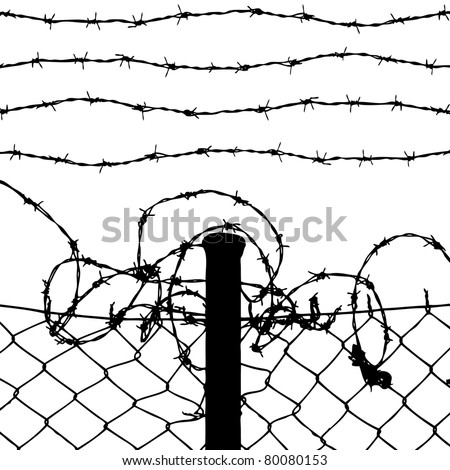 vector of wired fence with four barbed wires on white background - stock vector