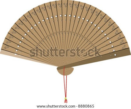 vector of wooden chinese hand fan