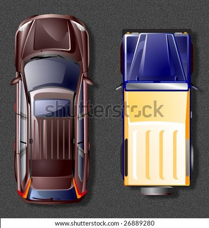 Vector off-road cars. Top view. - stock vector
