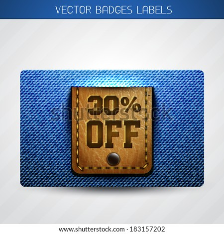 vector offer label of leather and jeans  - stock vector