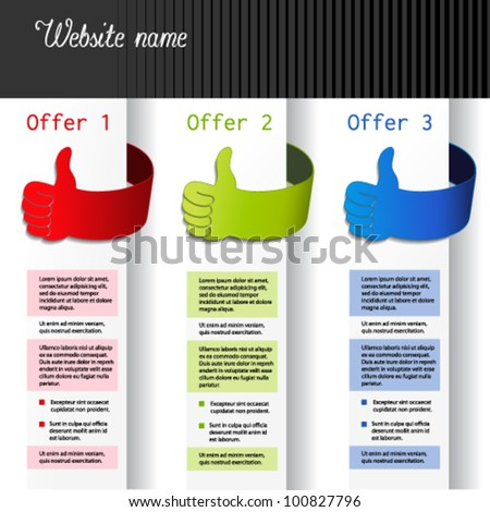 Vector offer labels - web template with gesture hand - stock vector