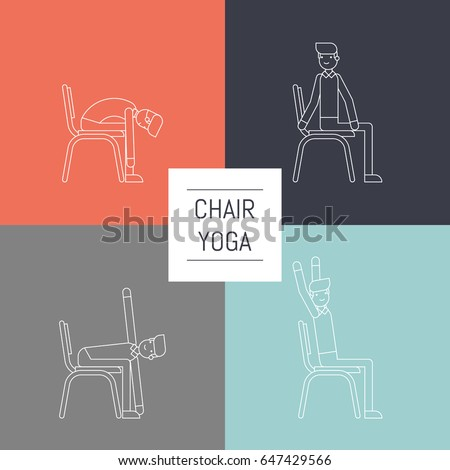 vector office chair yoga pose set stock vector 629900885