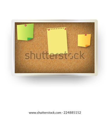 vector office cork board with sheets of notes - stock vector