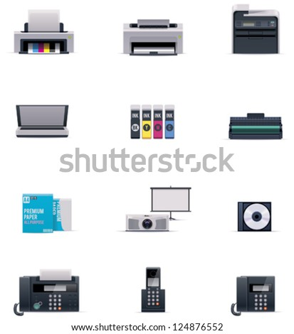 Vector office electronics icon set - stock vector