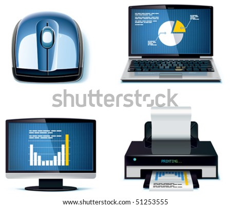 Vector office icon set. Part 3 - stock vector