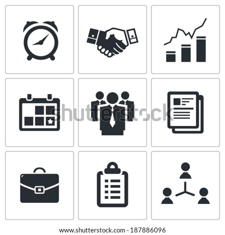 Vector office icons set - stock vector