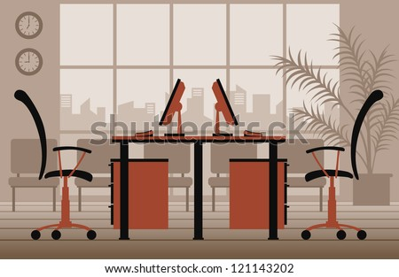 vector office interior - stock vector