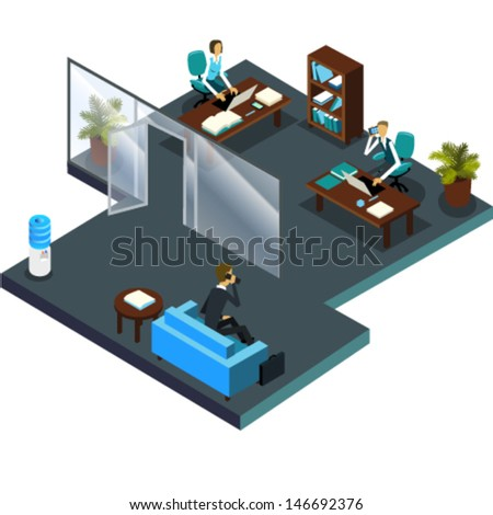 Vector office interior and waiting room. Coworkers in isometric room with wooden furniture; work team: senior and junior workers, sales managers, assistant, customer service. Waiting client. - stock vector