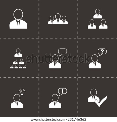 Vector office people icon set on black background - stock vector