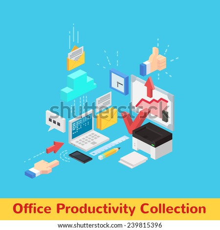 Vector office productivity and workflow collection with laptop printer whiteboard diagram mail arrows and clock - stock vector