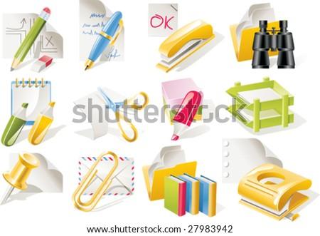 Vector office supplies icon set - stock vector