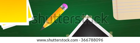 Vector office table background - post-it note, wooden pencil, photo frame and notebook. - stock vector