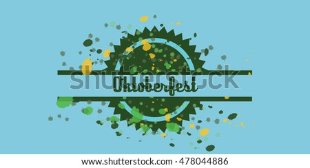 Vector Oktoberfest beer festival with color dots over blue background, flat style.