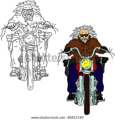 vector - Old  Biker isolated on background - stock vector