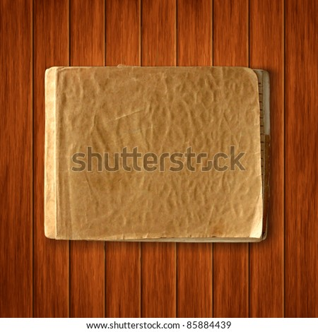 Vector old blank notebook on wood texture background. scrapbook vintage template - stock vector
