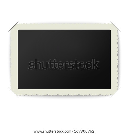 Vector old blank photo frame placed in album - stock vector