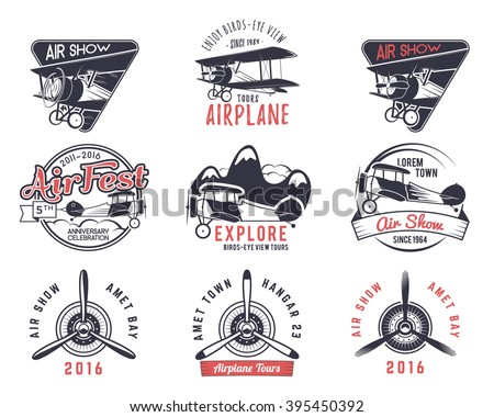 Vector old fly stamps. Travel or business airplane tour emblems. Biplane academy labels. Retro aerial badges isolated. Pilot school logo. Plane tee and t-shirt design for print, web design. Propeller - stock vector
