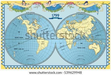 Vector Old Globe Map World New Stock Vector Shutterstock - Map globe of the world