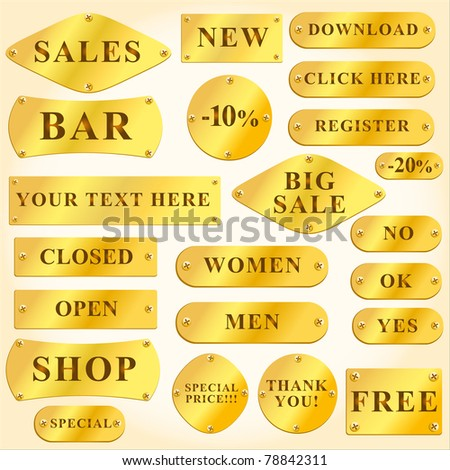 Vector Old golden plates and signboards with text - stock vector