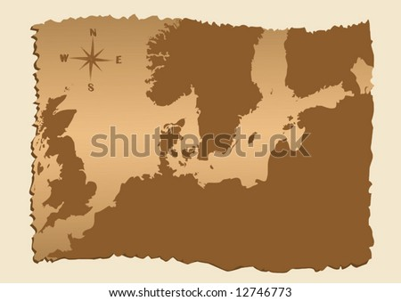 vector old map of North Europe with Baltic sea - stock vector