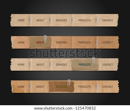 Vector old paper navigation bars collection - stock vector