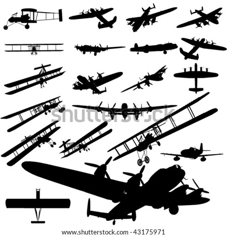 vector old plane silhouette set - stock vector
