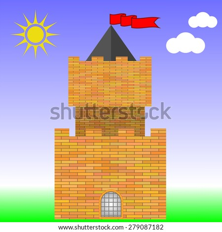 Vector Old Red Brick Castle on Blue Sky Background
