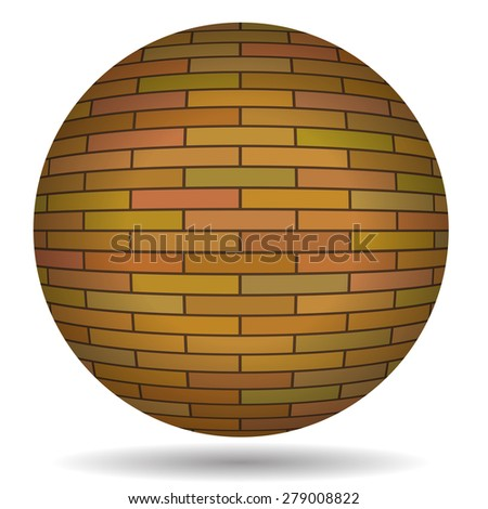 Vector Old Red Brick Circle Isolated on White Background