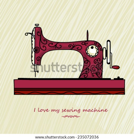 Vector old sewing machine - stock vector
