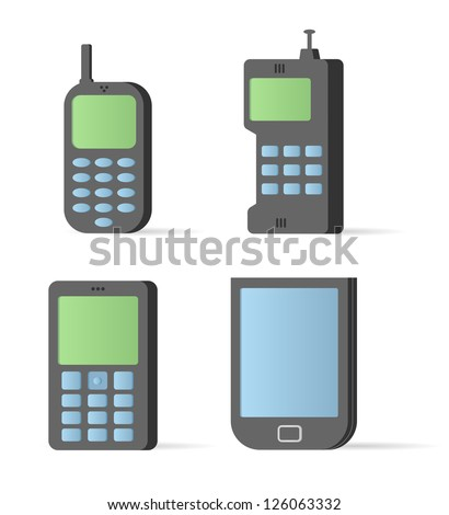 Vector old style mobile devices. Icon set - stock vector