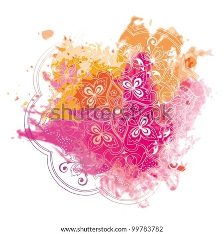 Vector Old Style Ornament with Watercolor Blots - stock vector