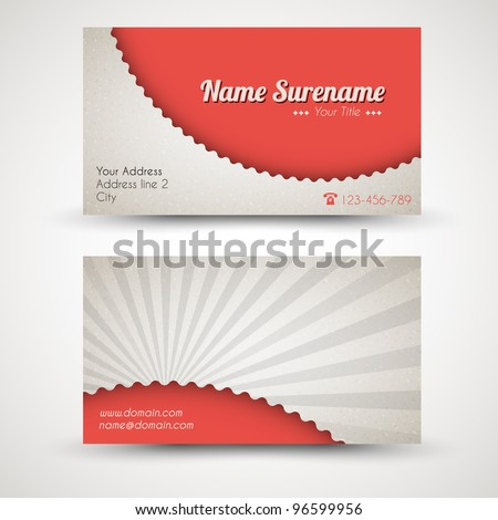 Vector old-style retro vintage business card - both front and back side (red) - stock vector