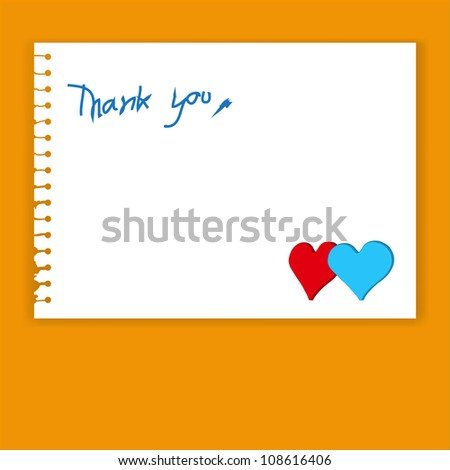 Vector Old Torn Paper with Thank You Word and red,blue heart - stock vector