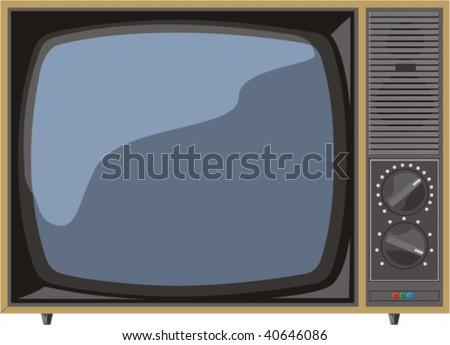 vector old tv - stock vector